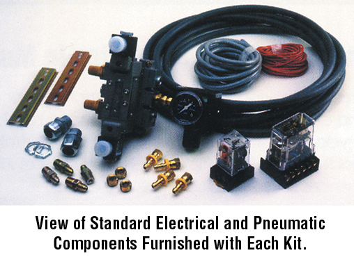 View of Standard Electrical and Pneumatic components furnished with each kit