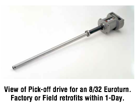 View of Pick-off drive for an 8/32 Euroturn. Factory or Field retrofits within 1 day.