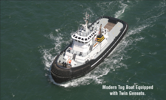 Modern tug boat equipped with twin gensets