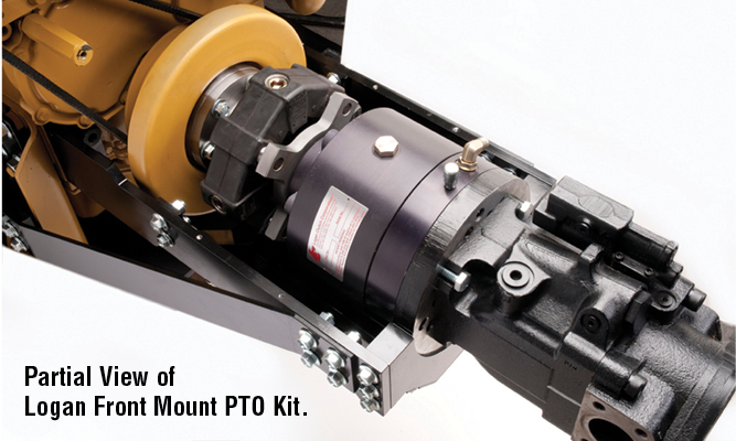 600 lb. ft. of continious duty torque @ 100 psi.  - 140 psi. Max engagement speed is 1800 RPM. Clutch shown with cover plate removed. Partial view of Logan Front Mount PTO Kit.