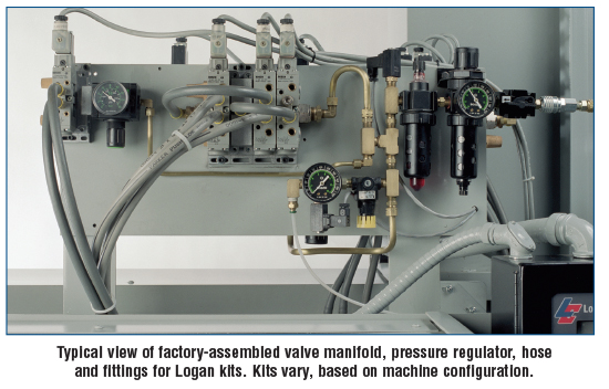 Typical view of factory-assembled valve manifold, pressure regulator, hose and fittings for Logan kits. Kits vary, based on machine configuration.