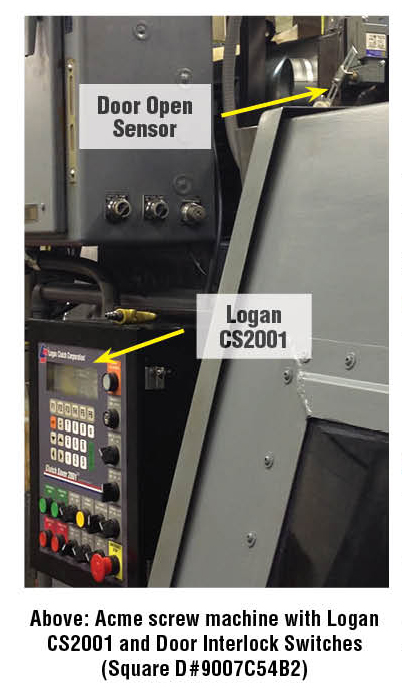 Acme screw machine with Logan CS2001 and Door Interlock Switches