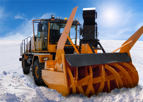"Airport 700 HP Snow Blower, is equipped with a Logan LC-318 Bell Housing PTO and is capable of clearing a 120"" wide path of snow, moving 6000 tons of snow per hour"