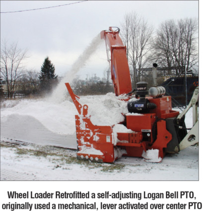 Wheel Loader Retrofitted a self-adjusting Logan Bell PTO, originally used a mechanical, lever activated over center PTO