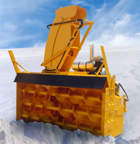 Two-Stage 3-Ribbon Snow Blower, which typically uses either a CAT C13 (415HP) or Cummins QSL-9 (350HP) style engine connected to a Logan LC-311B ell Housing PTO enables up to 112 1D (2484.48 cm) cutting widths.