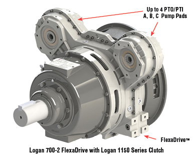 Up to 4 PTO/PTI A,B,C Pump Pads, FlexDrive, Logan 700-2 FlexaDrive with Logan 1150 Series Clutch