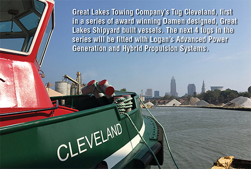 Great Lakes Towing Company 19s Tug Cleveland, first in a series of award winning Damen designed, Great Lakes Shipyard built vessels. The next 4 tugs in the series will be fitted with Logan 19s Advanced Power Generation and Hybrid Propulsion Systems.