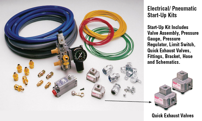 Electrical/ Pneumatic Start-Up Kits  Start-Up Kit Includes Valve Assembly, Pressure Gauge, Pressure Regulator, Limit Switch, Quick Exhaust Valves, Fittings, Bracket, Hose and Schematics.