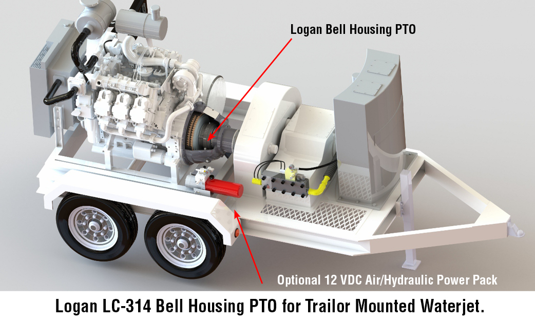 Logan LC-314 Bell Housing PTO for Trailor Mounted Waterjet.