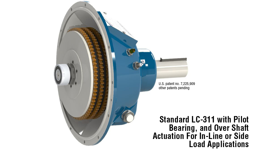 Standard LC-311 with Pilot Bearing, and Over Shaft Actuation For In-Line or Side Load Applications