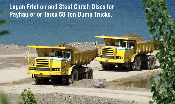 Logan Friction and Steel Clutch Discs for Payhauler or Terex 50 Ton Dump Trucks.