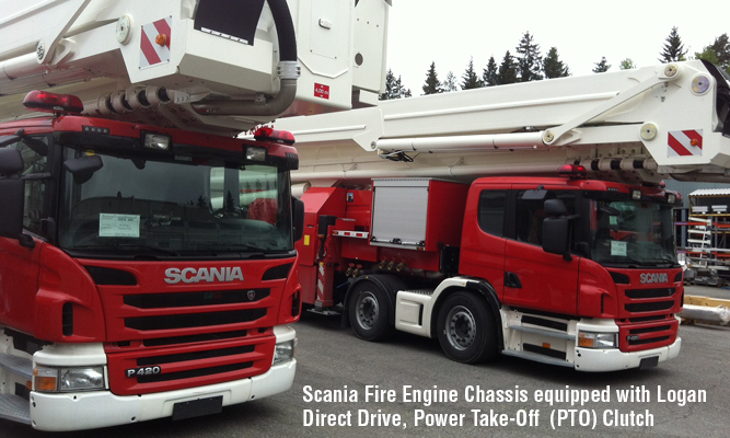 Scania Fire Engine Chassis equipped with Logan Direct Drive, Power Take-Off (PTO) Clutch