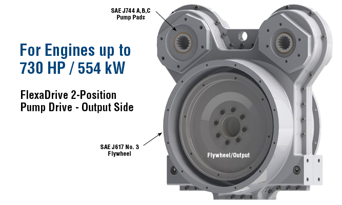 For Engines up to 730 HP / 554 k. Flexadrive 2-Position Pump Drive - Output Side