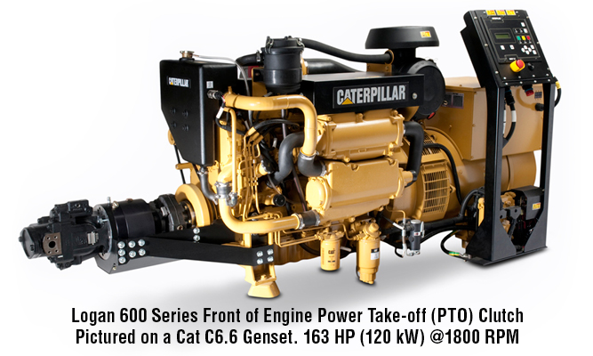 Logan 600 Series Front of Engine Power Take-off (PTO) Clutch Pictured on a Cat C6.6 Genset. 163 HP (120 kW) @1800 RPM