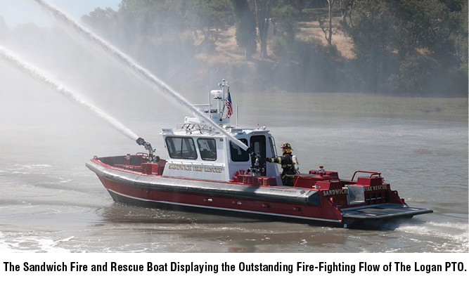The Sandwich Fire and Rescue Boat Displaying the Outstanding Fire-Fighting Flow of The Logan PTO.