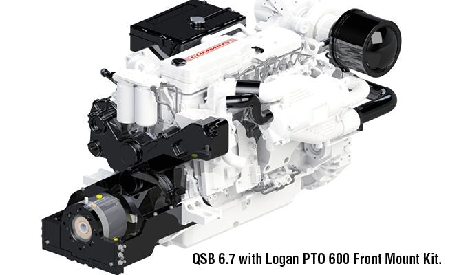 Cummins QSB 6.7 with Logan PTO 600 Front Mount Kit.