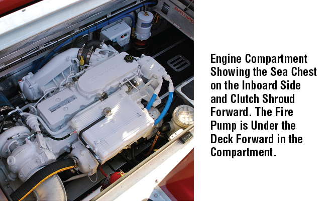 Engine Compartment Showing the Sea Chest on the Inboard Side and Clutch Shroud Forward. The Fire Pump is Under the Deck Forward in the Compartment.