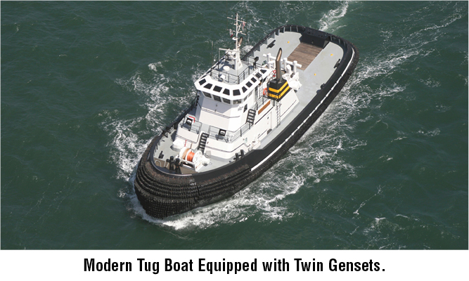 Modern Tug Boat Equipped with Twin Gensets.