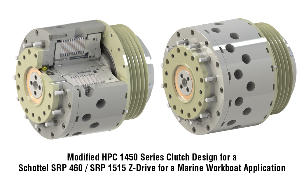 Modified HPC 1450 Series Clutch Design for a Schottel SRP 460 / SRP 1515 Z-Drive for a Marine Workboat Application