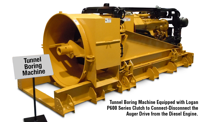 Tunnel Boring Machine Equipped with Logan P600 Series Clutch to Connect-Disconnect the Auger Drive from the Diesel Engine.