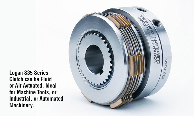 Logan S35 Series Clutch can be Fluid or Air Actuated. Ideal for Machine Tools, or Industrial, or Automated Machinery.