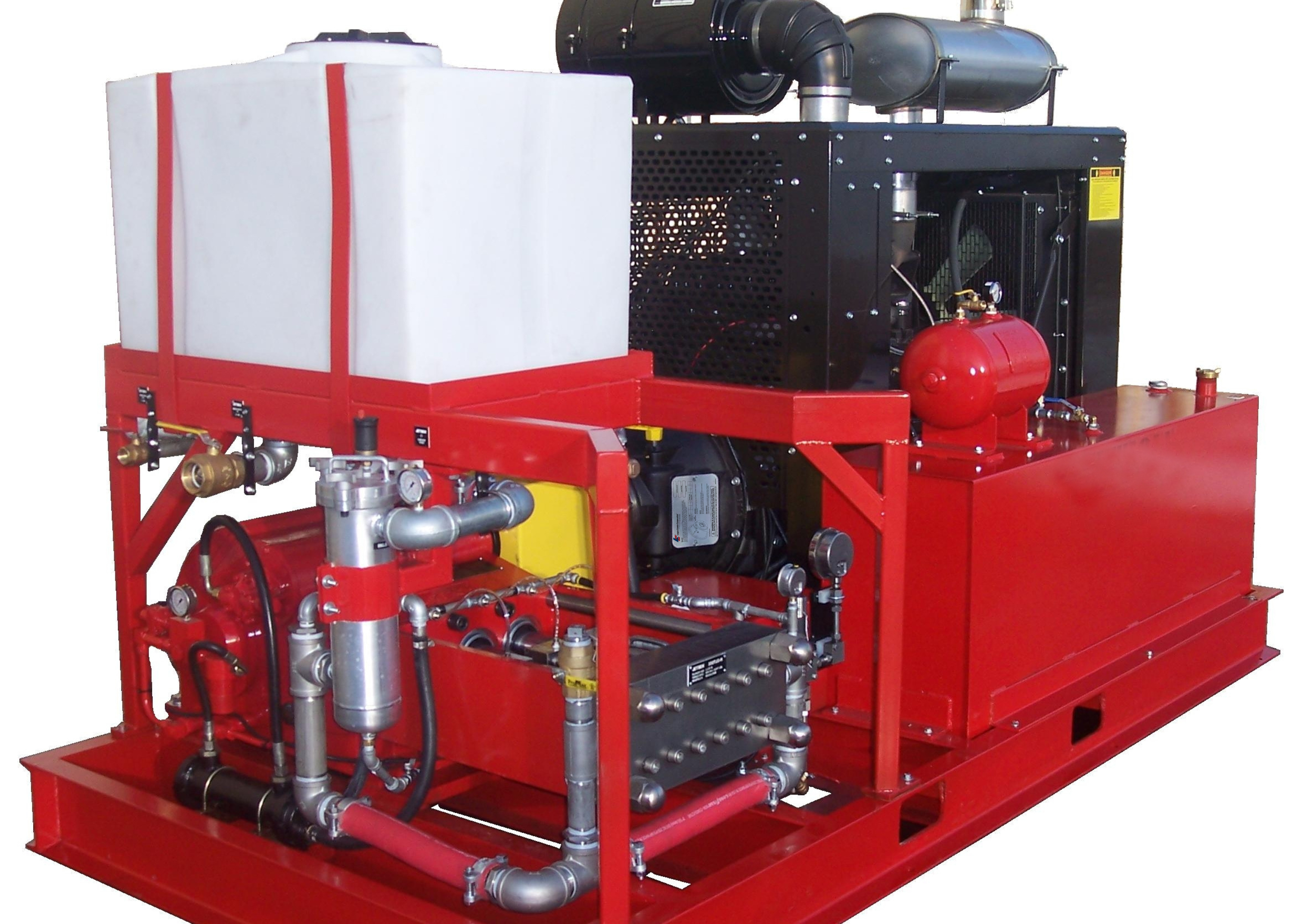 Skid Mounted Waterjet System Outfitted with 200 HP engine and LC-211 PTO