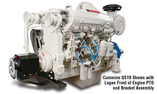 Cummins QS19 Shown with Logan Front of Engine PTO and Bracket Assembly