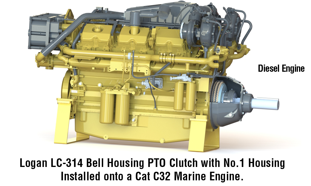 Logan LC-314 Bell Housing PTO Clutch with No.1 Housing Installed onto a Cat C32 Marine Engine.