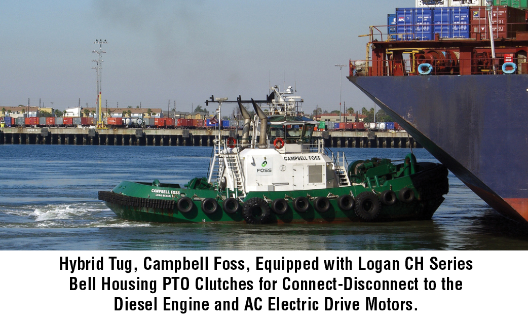 Hybrid Tug, Campbell Foss, Equipped with Logan CH Series Bell Housing PTO Clutches for Connect-Disconnect to the Diesel Engine and AC Electric Drive Motors.