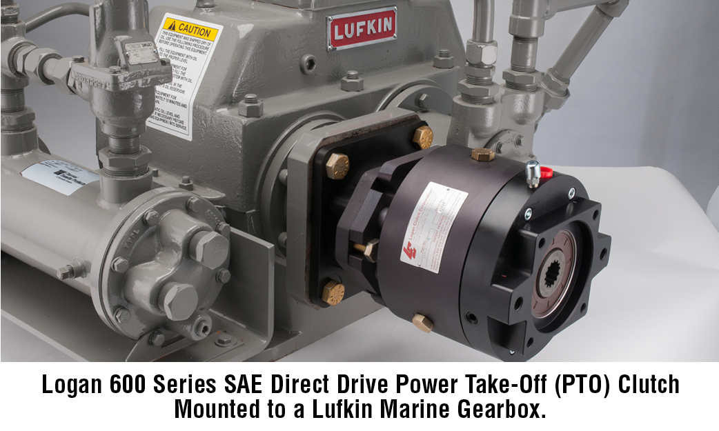 Logan 600 Series SAE Direct Drive Power Take-Off (PTO) Clutch Mounted to a Lufkin Marine Gearbox.