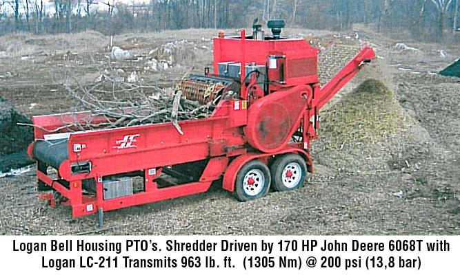 Logan Bell Housing PTO. Shredder Driven by 170 HP John Deere 6068T with Logan LC-211 Transmits 963 lb. ft. (1305 Nm) @ 200 psi (13,8 bar)