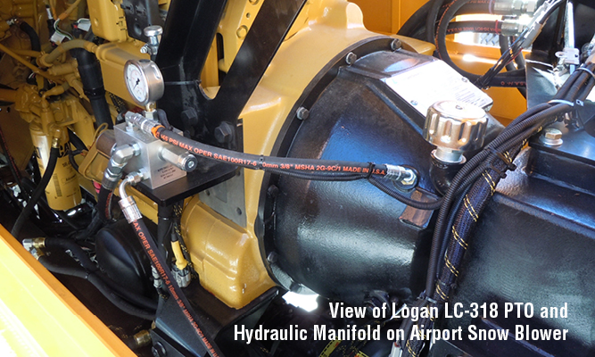 View of Logan LC-318 PTO and Hydraulic Manifold on Airport Snow Blower