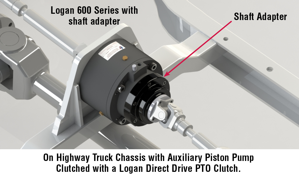 On Highway Truck Chassis with Auxiliary Piston Pump Clutched with a Logan Direct Drive PTO Clutch.