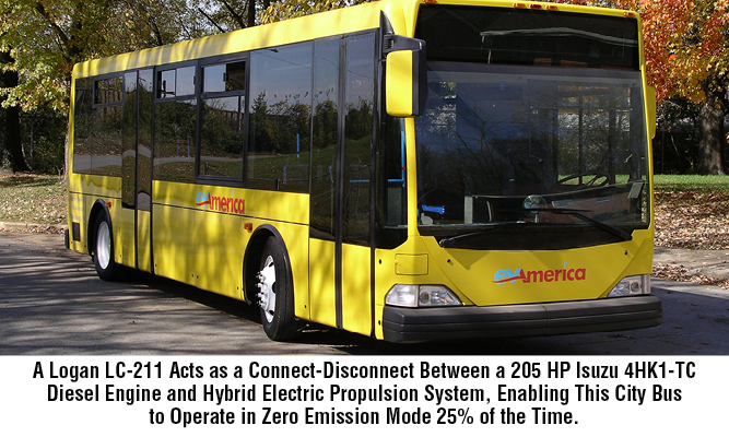 A Logan LC-211 Acts as a Connect-Disconnect Between a 205 HP Isuzu 4HK1-TC Diesel Engine and Hybrid Electric Propulsion System, Enabling This City Bus to Operate in Zero Emission Mode 25% of the Time.