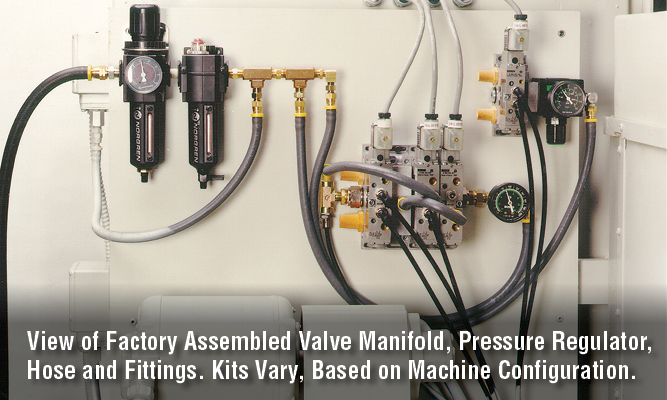 View of Factory Assembled Valve Manifold, Pressure Regulator, Hose and Fittings. Kits Vary, Based on Machine Configuration.