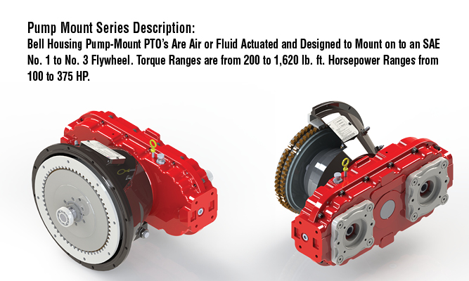 Pump Mount Series Description: Bell Housing Pump-Mount PTO Are Air or Fluid Actuated and Designed to Mount on to an SAE No. 1 to No. 3 Flywheel. Torque Ranges are from 200 to 1,620 lb. ft.