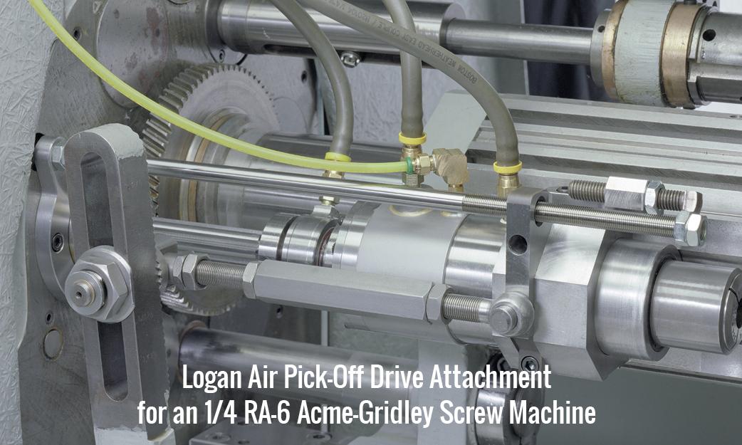 Logan Air Pick-Off Drive Attachment for an 1/4 RA-6 Acme-Gridley Screw Machine