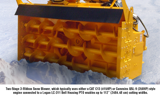 Two-Stage 3-Ribbon Snow Blower, which typically uses either a CAT C13 (415HP) or Cummins QSL-9 (350HP) style engine connected to a Logan LC-311 Bell Housing PTO enables up to 112 (2484.48 cm) cutti