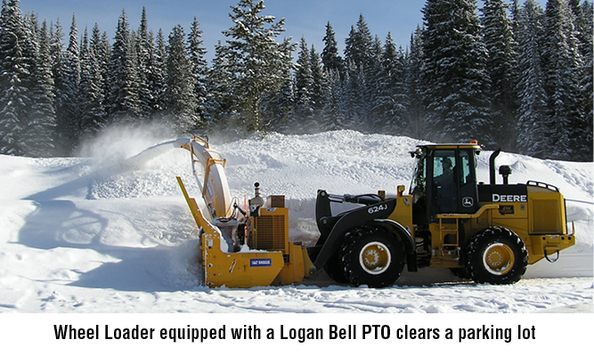 Wheel Loader equipped with a Logan Bell PTO clears a parking lot