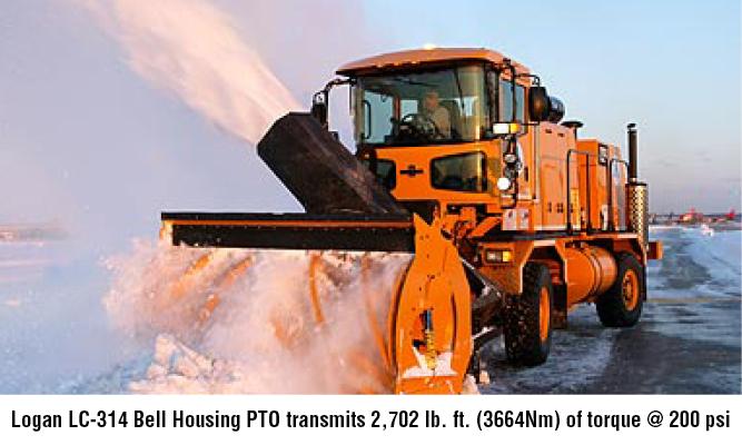 Logan LC-314 Bell Housing PTO transmits 2,702 lb. ft. (3664Nm) of torque @ 200 psi