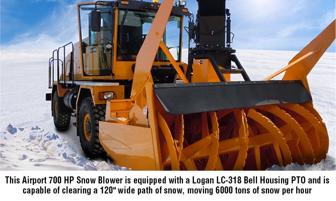 "This Airport 700 HP Snow Blower is equipped with a Logan LC-318 Bell Housing PTO and is capable of clearing a 120"" wide path of snow, moving 6000 tons of snow per hour"