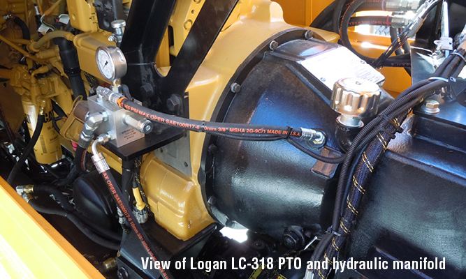 View of Logan LC-318 PTO and hydraulic manifold