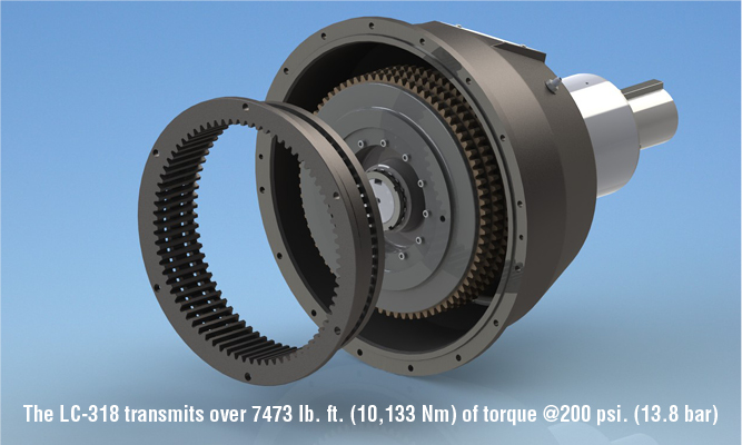 The LC-318 transmits over 7473 lb. ft. (10,133 Nm) of torque @200 psi. (13.8 bar)