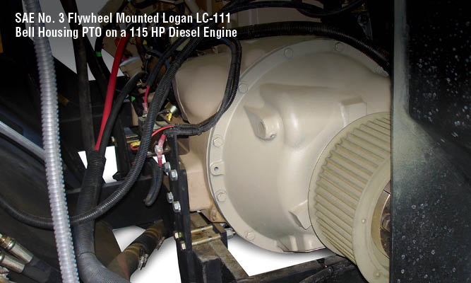 SAE No. 3 Flywheel Mounted Logan LC-111 Bell Housing PTO on a 115 HP Diesel Engine