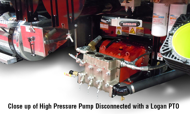 Close up of High Pressure Pump Disconnected with a Logan PTO
