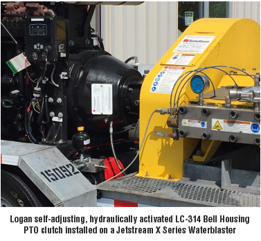 Logan self-adjusting, hydraulically activated LC-314 Bell Housing PTO clutch installed on a Jetstream X Series Waterblaster