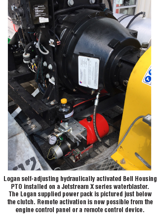 Logan self-adjusting hydraulically activated Bell Housing PTO installed on a Jetstream X series waterblaster
