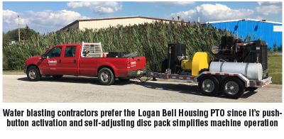 Water blasting contractors prefer the Logan Bell Housing PTO since it 19s push-button activation and self-adjusting disc pack simplifies machine operation