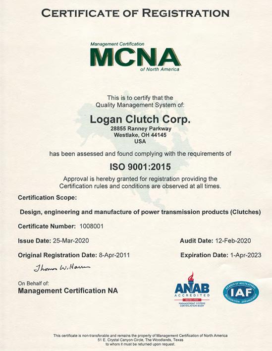 Certificate of Registration MCNA Logan Clutch