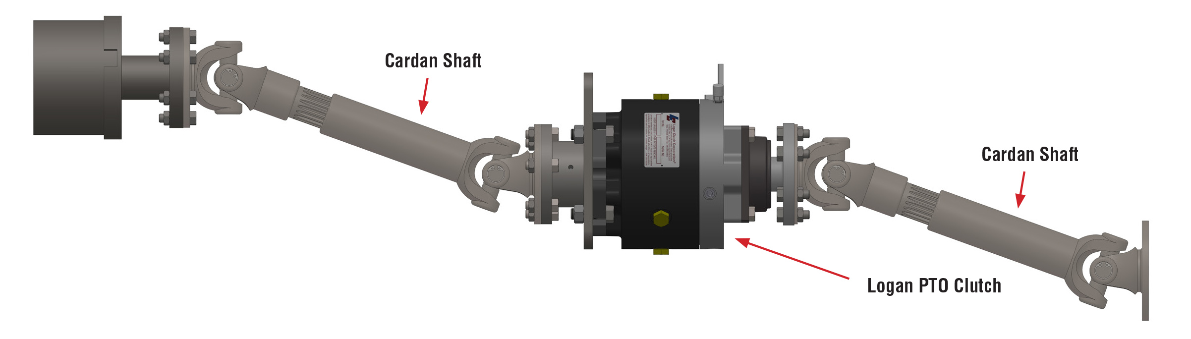 Combination of  405 and 402 Series:  Cardan shafts mounted to both sides of the PTO clutch